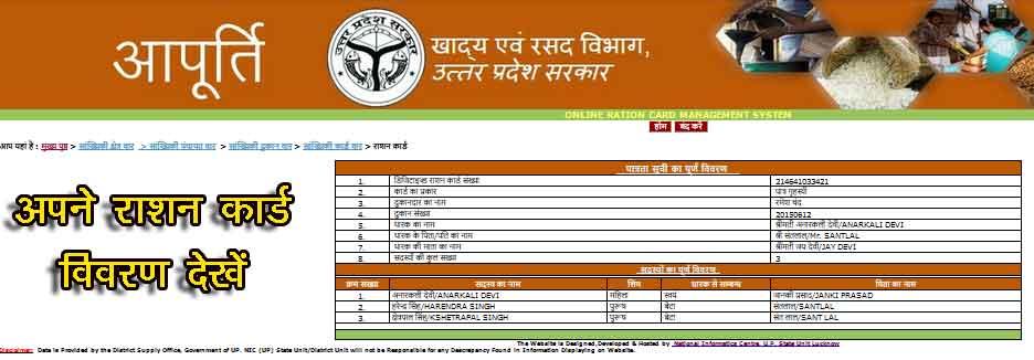 FCS UP Ration Card List